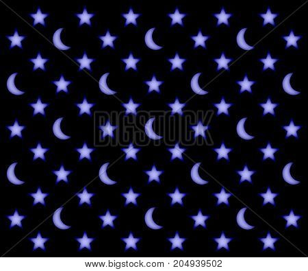 Glowing moons and stars pattern on a black sky background