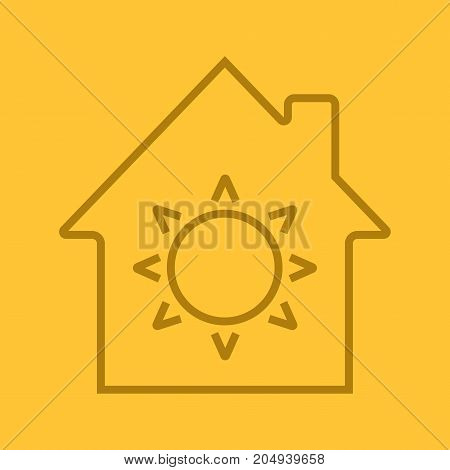 House eco electrification linear icon. House with sun inside. Thin line outline symbols on color background. Vector illustration
