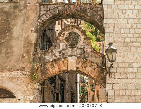 Fragments of buildings  in the old town of Kotor, Montenegro.
