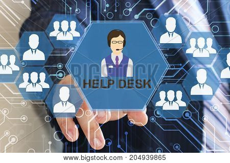The businessman clicks on the help desk button on the touch screen with a futuristic background