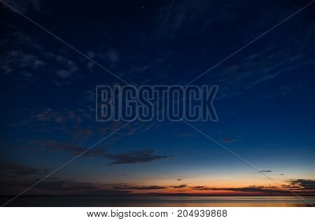 evening sunset with clouds and stars in the sky.Ursa Major