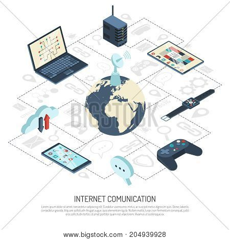 Internet of things isometric composition with satellite dish on globe, cloud storage, server, mobile devices vector illustration