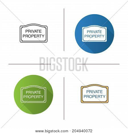 Private property sign icon. Flat design, linear and color styles. Property ownership. Isolated vector illustrations