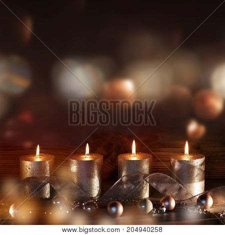 Christmas decoration with four candles in the advent season