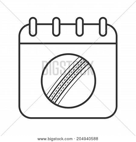 Cricket championship date linear icon. Thin line illustration. Calendar page with cricket ball. Contour symbol. Vector isolated outline drawing