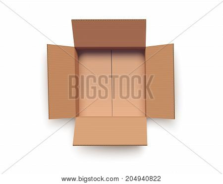 Empty open cardboard box isolated on white vector illustration
