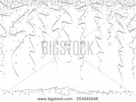 Silver curly ribbons and bright confetti on white background.