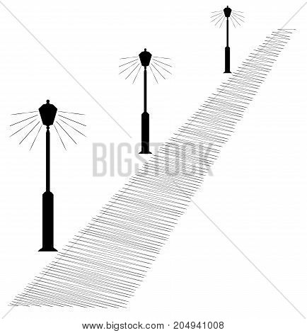 Silhouette Of Shining Street Lamps