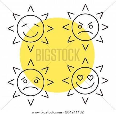 Sun smiles linear icons set. Thin line contour symbols. Good and bad mood. Happy, sad, angry, in love sun smiles. Isolated vector outline illustrations