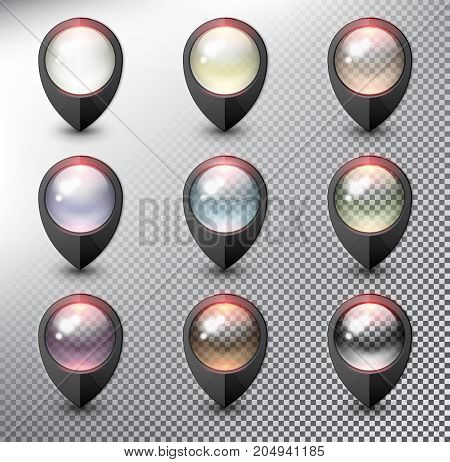 Collection of 9 blank map markers. Location icons. Black with transparent glass in 9 different colors. isolated with realistic shine and shadow on the light background. Vector illustration. Eps10.