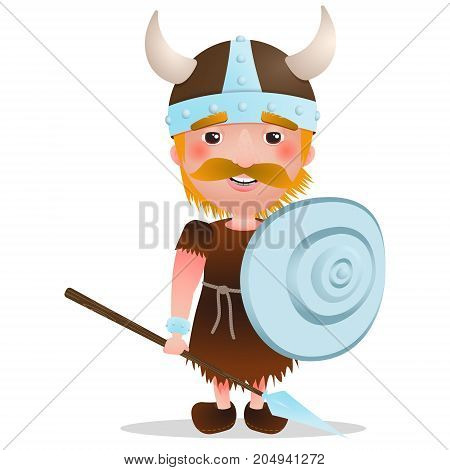 Cartoon vector Viking warrior with red hair. Cartoon character