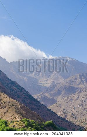 View on Jebel Toubkal in the High Atlas Mountains, highest peak in North Africa and Arab World, Morocco, North Africa