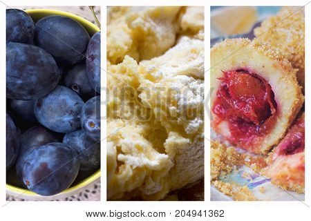 Plum dumplings collage - Fresh plums potato dough and finished plum dumplings as collage; Triptych kitchen decoration