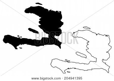 Haiti map vector illustration , scribble sketch Haiti
