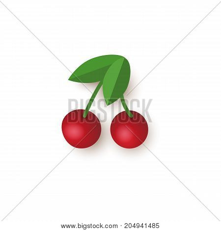 Red cherry, jackpot slot machine gambling symbol, vector illustration isolated on white background. Couple of red shiny cherries, jackpot slot machine gambling symbol