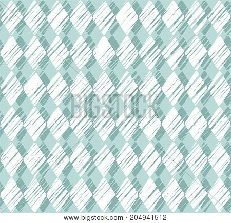 Diamonds, pattern, shading, blue, seamless background, vector. Vertical stripes of white diamonds on grey-blue background. Diamonds drawn with shading. Geometric colored background.