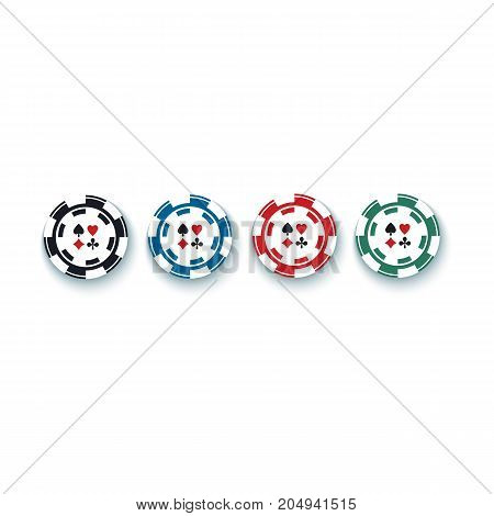 Set of red, black, green and blue gambling, casino, poker chips, tokens, 3D vector illustration isolated on white background. Set, collection of four casino, gambling chips, tokens