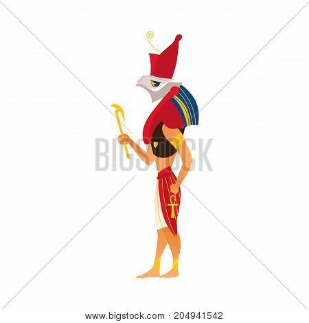 Horus, god of sky and kingship in ancient Egypt religion, flat cartoon vector illustration isolated on white background. Horus, Egyptian god with falcon head, flat side view full length portrait