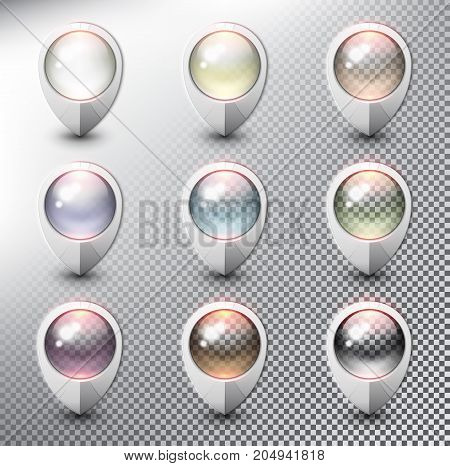 Collection of 9 blank map markers. Location icons. White with transparent glass in 9 different colors. isolated with realistic shine and shadow on the light background. Vector illustration. Eps10.