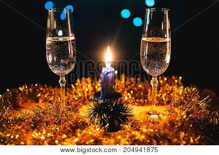 Happy New Year 2018 Background. Christmas And New Year's Glasses With Burning Candle. Design Decorat
