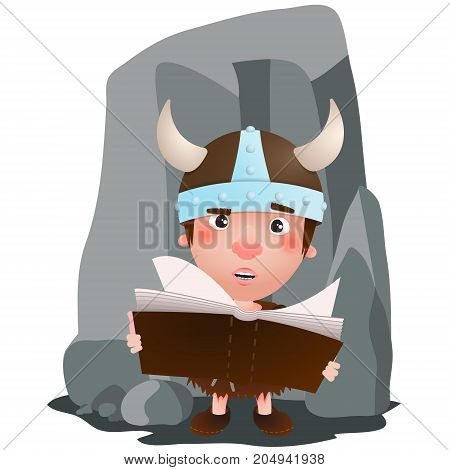 Viking boy have a book in the hand. Vector cartoon illustration
