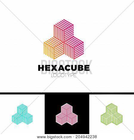 Hexagon Cube 3D Sector Group Logo, Package Box Arrow Logotype.