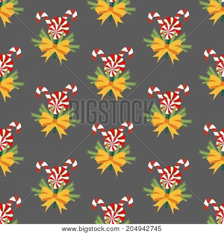 Candy cane pattern on the gray background. Vector illustration