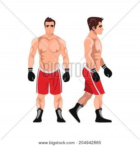 Boxer man. Sportsman games flat illustration. Vector
