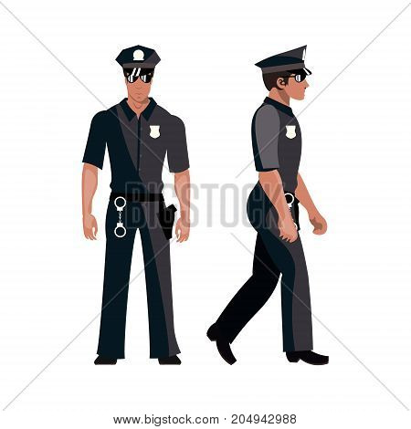 Policeman in american cop uniform. Vector illustration