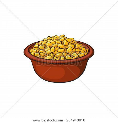 Hand drawn bowl of canned, tinned sweet corn, sketch style vector illustration isolated on white background. Sketch style, realistic drawing of bowl with sweet corn