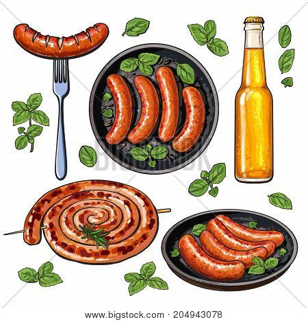 Beer and sausages, big set of barbeque party food, sketch style vector illustration on white background. Realistic hand drawing of grilled, fried, barbequed sausages and beer bottle