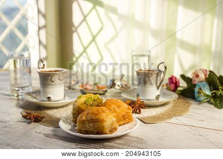 Two Cups Of Turkish Coffee And Baklava Toned Picture