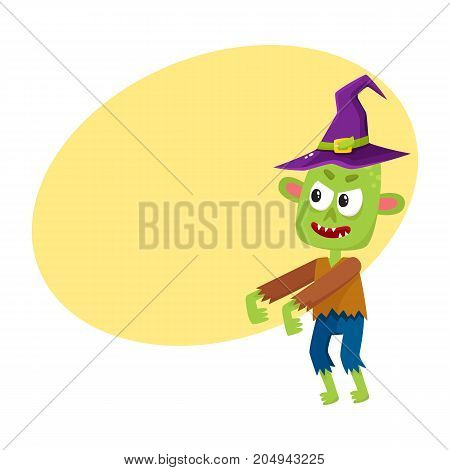 Scary little green zombie monster in pointed witch hat, Halloween costume, cartoon vector illustration with space for text. Monster, zombie in witch hat with arms stretched forward