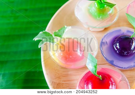 Colored jelly sweets delicious dessert in Thailand.