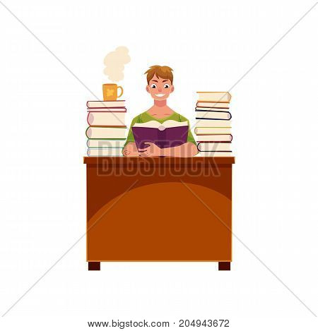 Young man reading in library, sitting at the table with piles of books, cartoon vector illustration isolated on white background. Cartoon young man, student reading books in library, studying