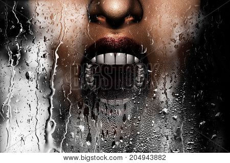 Steam room apocalypse 3d illustration of woman face screaming behind window glass with condensation effectHorror background mixed media