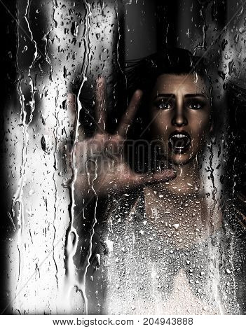 Steam room apocalypse 3d illustration of screaming woman put her hand against wet glass with condensation effect horror background mixed media