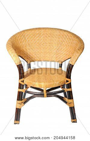 antique of bamboo chair on white background