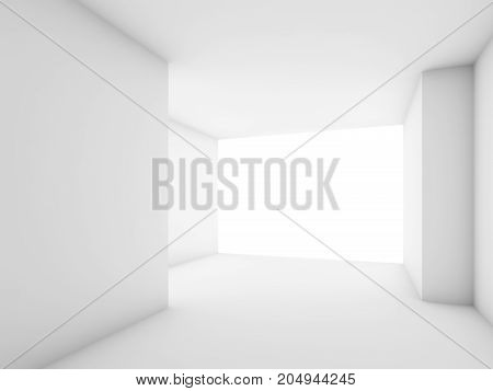 Abstract White Contemporary Interior, Empty Room