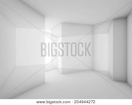 Abstract White Room Interior Background. 3D