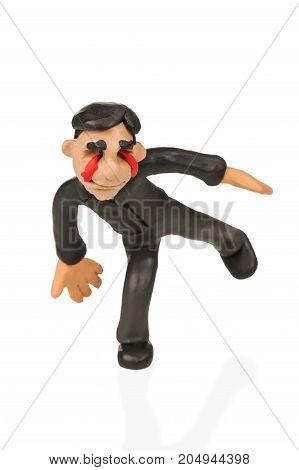Plasticine businessman without eyes, isolated on white background