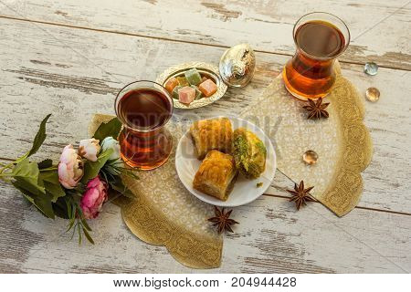 Two Traditional Glasses Of Turkish Tea