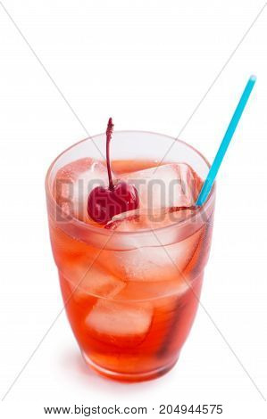 Glass of cherry soda with ice. Isolated on white