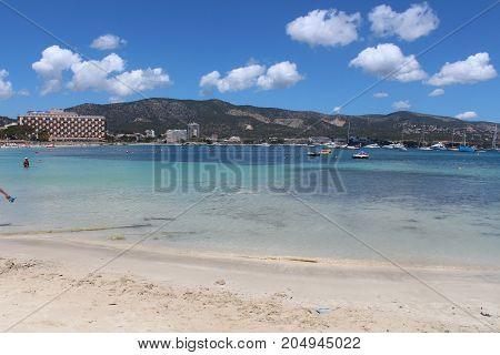 On Palma nova morning beach, Mallorca scenery