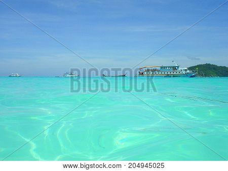 Tropical dreams in turquoise sea, Phuket island