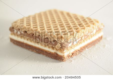 Square Waffle Filled With Chocolate