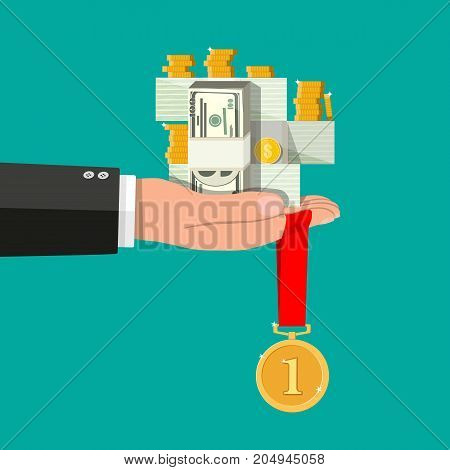 Hand holding pile of cash money and gold coins. Star shape. Award, victory, champion achievement. Gold medal with ribbon. Vector illustration in flat style