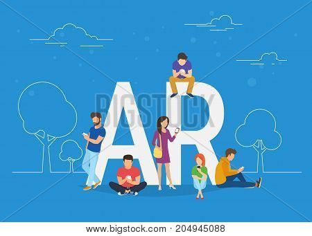 Augmented reality concept illustration of young people using smartphone ar kit app for playing game and see augmented elements in real life. Flat design of guys and women standing near big letters