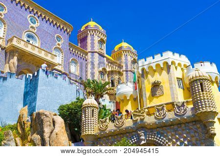 Beautiful architecture of Pena palace, in Sintra town Portugal