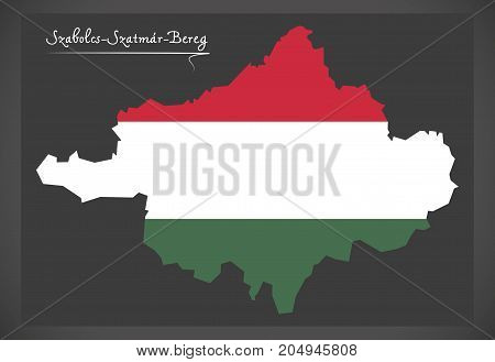 Szabolcs-szatmar-bereg Map Of Hungary With Hungarian National Flag Illustration